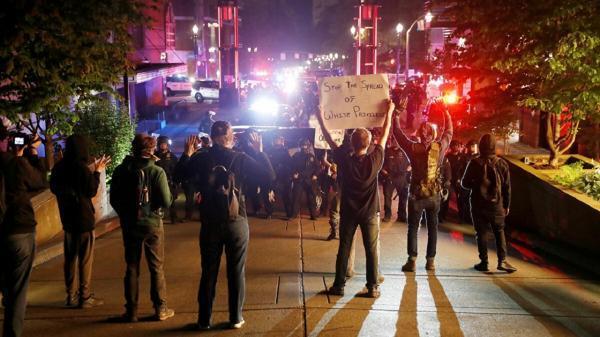 اعتراضات خیابانی در پورتلند همزمان با مراسم تحلیف بایدن